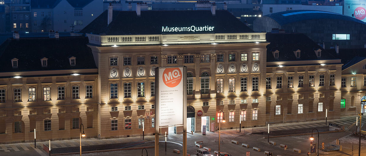 The MuseumsQuartier at night
